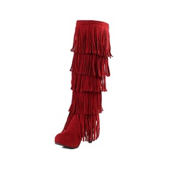 Women's Suede Stiletto Heel Closed Toe Knee High Boots shoes