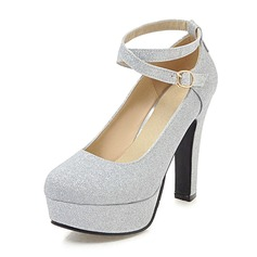 Women's PU Chunky Heel Pumps Platform With Sequin shoes (085186407)