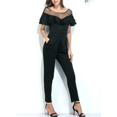Polyester/Tulle With Stitching Maxi Jumpsuits (199131449)