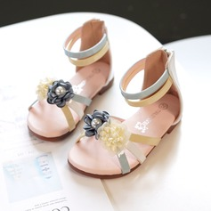 Girl's Peep Toe Leatherette Sandals Flats Sneakers & Athletic Flower Girl Shoes With Velcro Flower