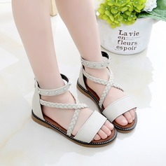 Girl's Peep Toe Microfiber Leather Sandals Flats With Rivet Button