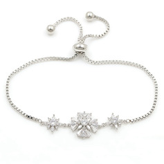 Anti-oxidation Statement Bridal Bracelets Bridesmaid Bracelets With Flower Cubic Zirconia -