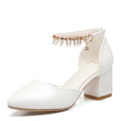 Frauen Kunstleder Stämmiger Absatz Sandalen Absatzschuhe Geschlossene Zehe Mary Jane mit Strass Nachahmungen von Perlen Quaste Schuhe