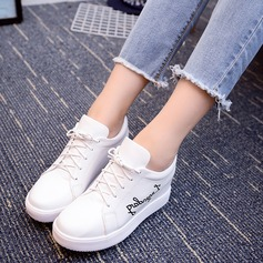 Women's PU Wedge Heel Platform Closed Toe With Lace-up shoes (116131031)