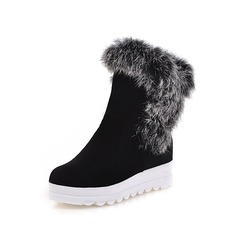 Women's Suede Flat Heel Riding Boots With Fur shoes