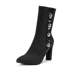 Women's Leatherette Chunky Heel Pumps Boots Mid-Calf Boots With Imitation Pearl shoes
