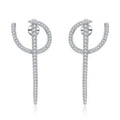 Vintage Copper/Zircon/S925 Sliver Ladies' Earrings
