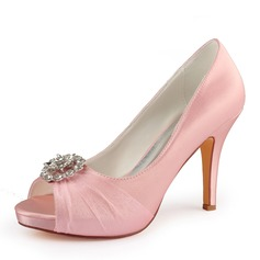 Women's Silk Like Satin Stiletto Heel Peep Toe Platform Pumps With Crystal