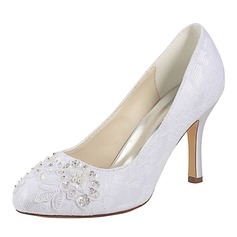 Women's Lace Silk Like Satin Stiletto Heel Closed Toe Pumps With Sequin Pearl