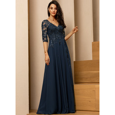 A-Line V-neck Floor-Length Evening Dress With Lace Sequins (271256261)