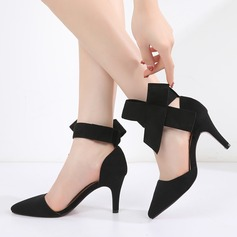 Women's Suede Stiletto Heel Sandals Pumps Closed Toe With Bowknot shoes (085165158)