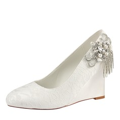 Women's Lace Silk Like Satin Wedge Heel Closed Toe Wedges With Crystal Pearl