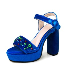 Women's Suede Chunky Heel Sandals Platform Slingbacks With Rhinestone shoes