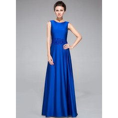 Sheath/Column Scoop Neck Floor-Length Jersey Mother of the Bride Dress With Beading