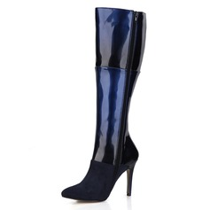 Women's Suede Patent Leather Stiletto Heel Pumps Closed Toe Boots Knee High Boots shoes