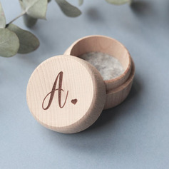 Simple/Round/Personalized Wood Ring Box