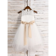 A-Line/Princess Knee-length Flower Girl Dress - Satin/Tulle/Lace Sleeveless Scoop Neck With Sash/Bow(s)/Back Hole (010091711)