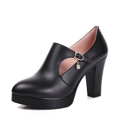 Women's Real Leather Chunky Heel Pumps With Hollow-out shoes