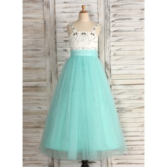 A-Line/Princess Floor-length Flower Girl Dress - Satin/Tulle Straps With Beading/Rhinestone