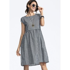 Cotton With Stitching Knee Length Dress (199173883)