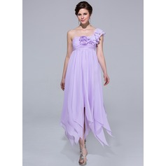 Empire One-Shoulder Ankle-Length Chiffon Holiday Dress With Flower(s) Cascading Ruffles (007037192)
