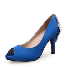 De mujer Satén Tacón stilettos Salón Encaje con Rhinestone Hebilla zapatos