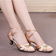 Women's Satin Heels Sandals Pumps Ballroom With Ankle Strap Hollow-out Sequin Dance Shoes