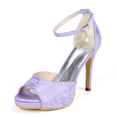 Women's Lace Satin Stiletto Heel Peep Toe Platform Pumps With Satin Flower Pearl