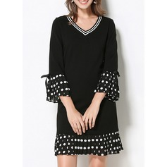 Cotton With Bowknot/Stitching/Ruffles Above Knee Dress (199137163)