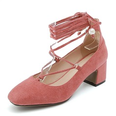 Women's Suede Chunky Heel Closed Toe With Lace-up shoes