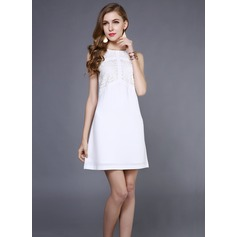 Lace/Satin With Lace Above Knee Dress (199087021)