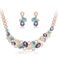 Colourful Alloy Czech Stones Opal Women's Jewelry Sets