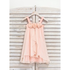 A-Line/Princess Knee-length Flower Girl Dress - Chiffon Sleeveless Straps With Ruffles/Flower(s)
