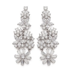 Flower Shaped Zircon Ladies' Earrings