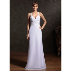 Sheath/Column Sweetheart Floor-Length Chiffon Holiday Dress With Ruffle Beading (020015086)