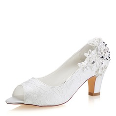 Women's Lace Silk Like Satin Stiletto Heel Peep Toe Pumps With Sequin Stitching Lace