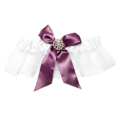 Attractive Satin Organza With Bowknot Rhinestone Wedding Garters