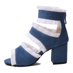 Frauen Leinwand Stämmiger Absatz Sandalen Absatzschuhe mit Reißverschluss Schuhe