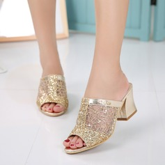 Women's Lace Chunky Heel Sandals Slingbacks Slippers With Sequin shoes