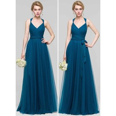 A-Line/Princess V-neck Floor-Length Tulle Bridesmaid Dress With Ruffle Bow(s)