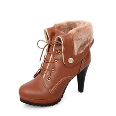 Women's PU Stiletto Heel Boots Mid-Calf Boots With Zipper Lace-up shoes