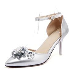 Donna Similpelle Tacco a spillo Stiletto Punta chiusa con Fibbia Fiore scarpe