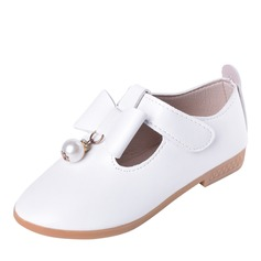 Jentas Round Toe Lukket Tå Leather Flate sko Flower Girl Shoes med Bowknot Velcro