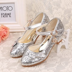 Girl's Closed Toe Leatherette Low Heel Pumps Flower Girl Shoes With Bowknot Sparkling Glitter