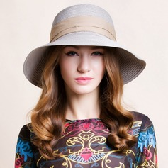Ladies' Elegant Raffia Straw Bowler/Cloche Hat