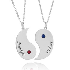 Custom Silver Engraving/Engraved Birthstone Two Name Necklace (Set of 2) - Birthday Gifts Mother's Day Gifts
