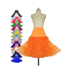 Women Tulle Netting/Lycra Knee-length 3 Tiers Petticoats (037116467)