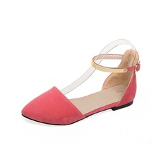 Women's Suede Flat Heel Flats Closed Toe With Buckle shoes (086094929)