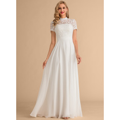 High Neck Floor-Length Chiffon Lace Wedding Dress (265235837)