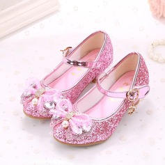 Girl's Sparkling Glitter Flat Heel Closed Toe Sandals With Bowknot Imitation Pearl Sparkling Glitter Velcro